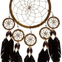 Six Rings with Feathers - Brown - Dreamcatcher