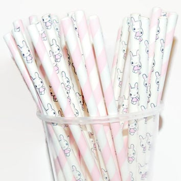 Easter Bunny Straws, Easter Party Decorations, Baby Bunnies, Baby Shower, Its a Girl, Gender Reveal, 20CT