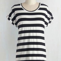 Mid-length Short Sleeves Breezy Basics Top in Monochrome Stripes by ModCloth