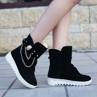ca ICIKTM4 On Sale Hot Deal Winter Korean Suede With Heel Flat Butterfly Boots [11144746887]