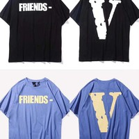 HCXX 19July 598 Vlone Friends Cotton Comfortable Short-sleeved T-shirts