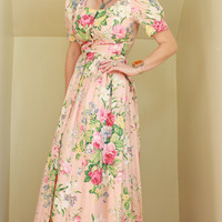 80s/90s - Romantic - Light Pink - Bold Rose Floral - Fitted Bodice - Puffy Shoulders - Button Down - Pleated - Cotton - Maxi Dress