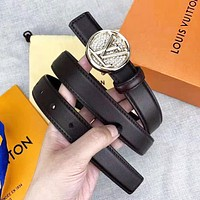 LV Louis Vuitton New fashion letter diamond buckle couple belt Coffee with box