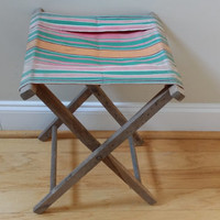 Vintage Folding Wood Camp Stool With Striped Canvas Seat Great Portable Seating Perfect Small End Table
