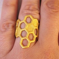 Honeycomb Ring in Gold by designerica on Etsy