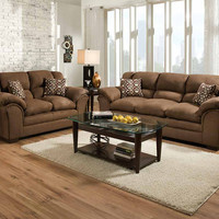 Brown, Plush Couch Set | Venture Chocolate Sofa and Loveseat | American Freight