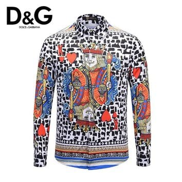 Dolce&Gabbana Hot Sale Popular Men Women Personality Print Long Sleeve Lapel Shirt Top