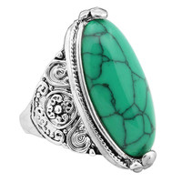 Fashion Vintage Bohemian Silver Plated White Oval Turquoise Ring
