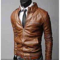Men's leather clothing  leather fur coat brand new  2015 autumn winters skinny men's leather jackets,free shipping