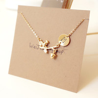 Initial necklace, Squirrel Necklace - Gold Initial Dainty Necklace