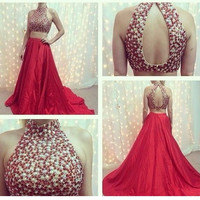 Two Piece High Neck Red Beaded Prom Dresses Evening Dresses