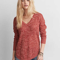 AEO V-Neck Pullover Sweater, Rust