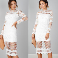 The new lace hollow lady dress Slim long sleeve skirt