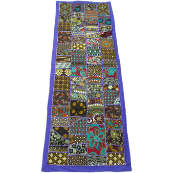 Multi Recycled Hand Sewn Patchwork Wall Tapestry Runner