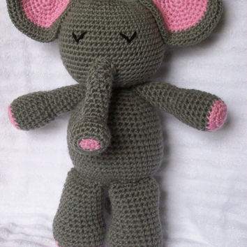 Crochet Elephant Stuffed Animal in Pink and Grey, Crochet Stuffed Animal - Stuffed Elephant Plush (Made to Order)