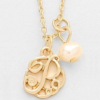 p Monogram Pendant Necklace With Pearl Charm