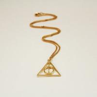 Deathly Hallows Harry Potter Gold and Silver colored Chain Necklace