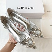 AMINA MUADDI Fashion Women Sexy Transparent Cystal Pointed Single Shoes