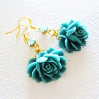 Mint Gold Teal Flower Earrings, spring flower earrings with vintage roses and rhinestone crystal accents - Rockabilly Retro Pin up Burlesque