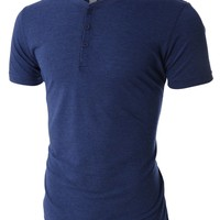 PREMIUM Mens Lightweight Tri-Blend Short Sleeve Henley Shirt