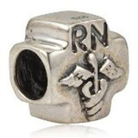European Charm Sterling Silver Bead RN Nurse
