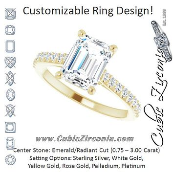 Cubic Zirconia Engagement Ring- The Diane (Customizable Cathedral-raised Emerald Cut Design with Accented Band and Infinity Symbol Trellis Decoration)