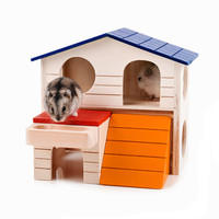 1 Pc Wooden Hamster House Ladder Pets Small Animals Rats Rabbits Hideout Luxury Home 2 Storey Platform Playhouse Nest Supplies