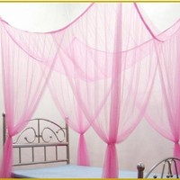 OctoRose ® 4 Poster Bed Canopy Netting Functional Mosquito Net Full Queen King (Lt.Pink)
