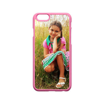 Pink Silicone Custom iPhone Case Personalized With Your Photo Fits iPhone 6 Case, iPhone 6 Plus, 6s Case Pink