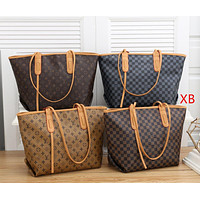 Louis Vuitton LV Fashion Leather Crossbody Satchel Tote Handbag Set Two Piece