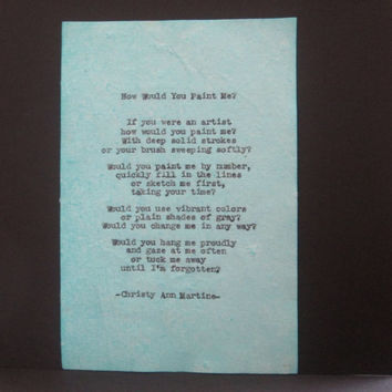 Typwritten Poems Vintage Typed Anitque Typewriter by Poet Poem Author Quotes Typewriter Poetry on Handmade Cotton Paper