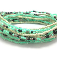 3 Stretch seed bead wrap bracelets, stacking, beaded, boho anklet, bohemian, stretchy stackable multi strand, mint green, black gold, grey