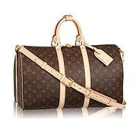 louis vuitton monogram canvas cross body handle keepall bandouliere 45 article m41418