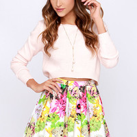Be Bouquet Ivory Floral Print Skirt