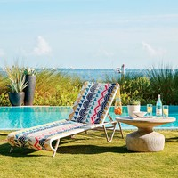 All-Weather Wicker Colorblock Woven Chaise Lounger