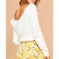Final Sale - MINKPINK - Jackie Fuzzy V-Neck Jumper/Sweater in Off White