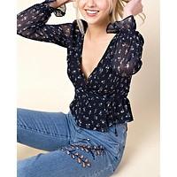 Final Sale - HONEY BELLE - Ruffle Layered Print Top - Navy
