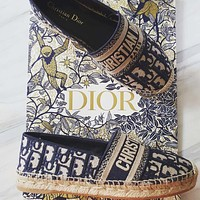 Christian Dior espadrille stitching color ladies letter lazy shoes fisherman shoes casual shoes sandals