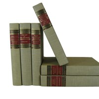 Vintage Books for Home Decor in Red and Tan, S/6