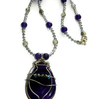 Purple and Light Blue Beaded Necklace with Wire Wrapped Purple Pendant