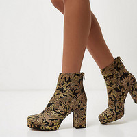 Gold embroidered platform boots - boots - shoes / boots - women