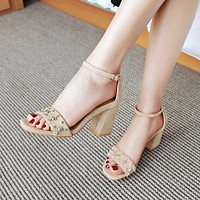 Ankle Straps Suede Rhinestone High Heels Chunky Sandals 3992