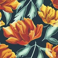 Fiery Florals Wallpaper