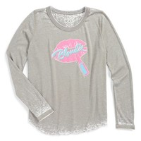 Girl's Chaser 'Blondie Pink Lips' Long Sleeve Burnout Tee,