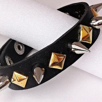 Faux Leather (Vegan) Spiked & Studded Bracelet - Gold Rivets  and Silver 10mm Spikes