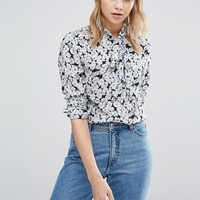 Warehouse Floral Printed Tie Neck Blouse at asos.com