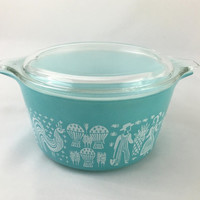 Vintage Pyrex Amish Butterprint Turquoise & White 1 Quart Casserole Dish With Clear Glass Lid Mid Century Kitchen American Vintage