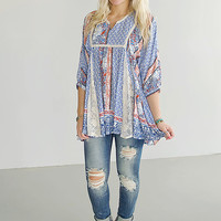 Breeze On By Floral And Lace Tunic