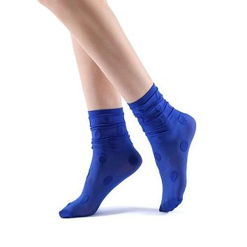 Marella Polka Sheer Mid High Sock | Royal Blue