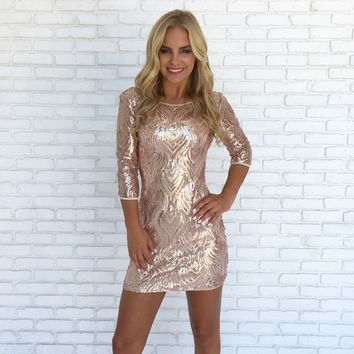 Strike A Match Sequin Mini Dress In Rose Gold